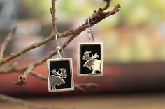 Small Sterling Silver Rectangular Onyx Moose Earrings – Jackson Hole Jewelry Company