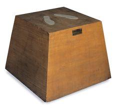 "Piero Manzoni ~ [Italy] (b.1933 - d.1963) ~ ""Magic Base"" - Living Sculpture"", -1961-. Wood (60 × 79,5 × 79,5 cm) | concettuale art - are povera"