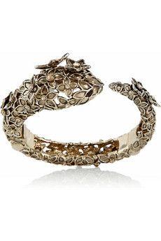 ROBERTO CAVALLI  Gold-plated Swarovski crystal floral snake bracelet