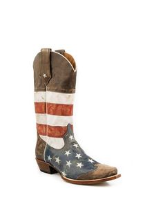 Roper Western Boots Mens American Flag Brown 09-020-7001-0101 BR in Clothing, Shoes & Accessories, Men's Shoes, Boots | eBay