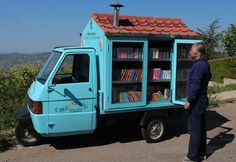 """duckduckbooks: """" good: """" An Italian mobile library. Wouldn't it be cool to have one of these in your own community? """" We have a bookmobile where I live! There are hundreds of books on it and I think. Little Free Libraries, Little Library, Mini Library, Professor, Mobile Library, World Kindness Day, Rare Historical Photos, Life Quotes Pictures, Vintage Posters"""