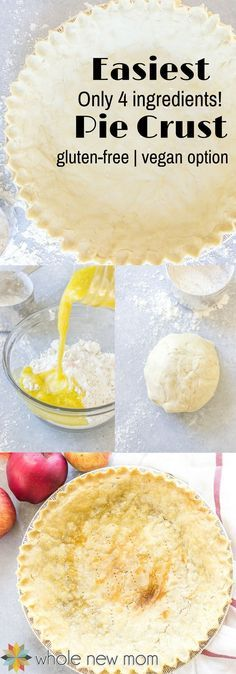 Easy Pie Crust-with gluten free and vegan options No need to buy a premade crust when you have this Pat in Pan Crust that s super simple to make glutenfree vegan glutenfreedessert grainfree pie via wholenewmom Vegan Pie Crust, Easy Pie Crust, Gluten Free Crust, Pie Crust Recipes, Vegan Gluten Free, Gluten Free Recipes, Paleo, Dairy Free, Gluten Free Vegan