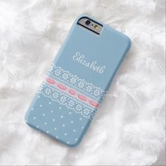 A cute light blue and white polka dot pattern slim #iPhone6case with a white daisy floral lace design threaded with girly pink ribbon. This pretty pink and blue design design can be personalized by adding the name of a feminine girly girl. Flat printed image, not actual lace.