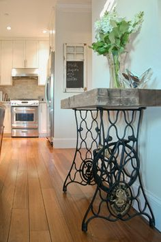 Singer Sewing Machine Base Design Ideas - opped with thick, rustic plank.