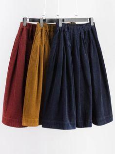 Mori Girl Pure Color Elastic Waist Side Pocket Corduroy Skirt - Men's style, accessories, mens fashion trends 2020 Modest Fashion, Skirt Fashion, Fashion Outfits, Mori Girl Fashion, Fashion Styles, Girl Japanese, Japanese Fashion, Asian Fashion, Fashion Trends 2018