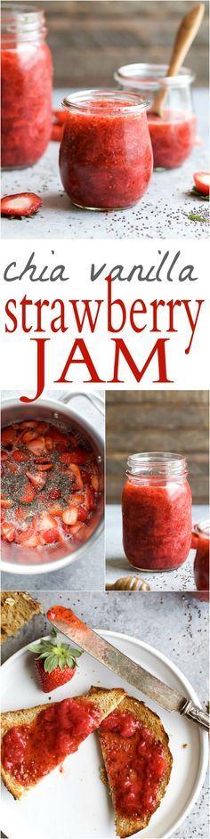 Quick & Easy CHIA VANILLA STRAWBERRY JAM naturally sweetened with honey. This Strawberry Jam Recipe you'll want to slather on everything, plus it's perfect for Strawberry Season! (no pectin) | joyfulhealthyeats.com | gluten free | paleo friendly