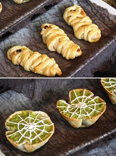 Mummy dogs and cobweb nacho bites flour tortillas with bean dip topped with guacamole spread with veg oil and baked in muffin tins Halloween Bunco, Halloween Graveyard, Halloween Appetizers, Healthy Halloween, Halloween Table, Halloween Treats, Halloween Foods, Halloween 2017, Halloween Stuff