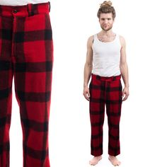 Hey, I found this really awesome Etsy listing at https://www.etsy.com/listing/225546586/1940s-mens-plaid-wool-pants-red-black