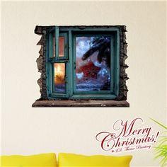 3D Wandtattoo Weihnachten Fenster Weihnachtsdeko