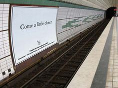 Best business advertising for a funeral service at a train station..