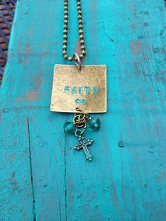 FAITH Hand-stamped Patina Antiqued Bronze Necklace on Etsy, $18.00