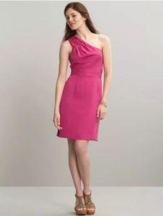 Womens-BANANA-REPUBLIC-Pink-One-Shoulder-Empire-Waist-Dress-4P-Petite-NWT-98  2 fishes closet