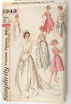 Simplicity 5343 Misses Wedding Dress Pattern Detachable Train Wedding Dress Patterns, Vintage Dress Patterns, Wedding Dresses, Vintage Costumes, Vintage Outfits, 1960s Wedding, Retro Mode, Gown Pattern, Vintage Bridal