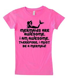 Hot Pink 'Mermaids are Awesome' Tee - Toddler & Girls