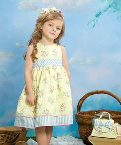 Yellow & Blue Floral Stripe Dress - Infant by Laura Ashley London #zulily #zulilyfinds