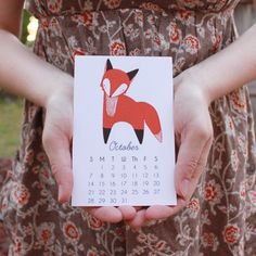 Little Foxes 2014 Calendar with Display Easel by Gingiber on Etsy
