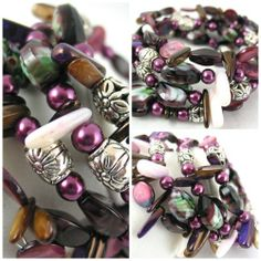 Plum Hearts with Shell and Metal spacers Memory wire Bangle Bracelet