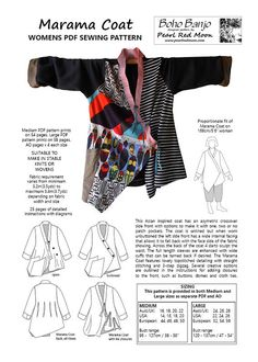 Excited to share the latest addition to my #etsy shop: the Marama Coat, with an asian inspired asymetric crossover front. womens PDF sewing pattern http://etsy.me/2D0iidq #supplies #sewing #pearlredmoon