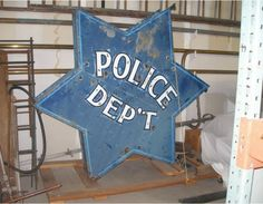 Police Department Neon Sign from the 1950s - Have you ever checked in to the Blue Star Hotel?
