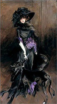 Stampa su tela 60 x 110 cm: Portrait of the Marchesa Luisa Casati with a greyhound di Giovanni Boldini - poster pronti, foto su telaio, foto su vera tela, stampa su tela