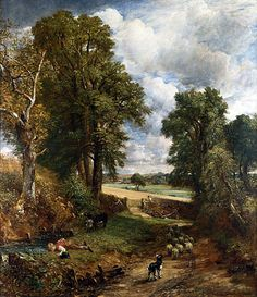"The Cornfield The Cornfield is an oil-on-canvas painting by the English artist John Constable. It was finished in 1826 and was first exhibited at the Royal Academy that same year. It measures 143 by 122 cm. It is in the National Gallery, London. Constable referred to the painting as ""The Drinking Boy"" and it is thought to show a lane leading from East Bergholt towards Dedham, Essex"