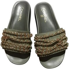 Get the must-have mules of this season! These Chanel Khaki Green Trpiconic Cruise Cc Sandals Mules/Slides Size EU 40 (Approx. US Regular (M, B) are a top 10 member favorite on Tradesy. Save on yours before they're sold out! Green Sandals, Mule Sandals, Chanel Slides, Chanel Box, Khaki Green, Stylish, Chains, Cruise