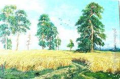 Картина панно рисунок Мастер-класс Лепка Рисование и живопись пластилиновая копия картины Ивана Шишкина Рожь Картон Пластилин фото 1