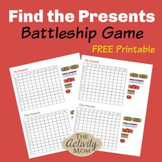 Find the Presents Battleship Game for Kids. FREE printable game that you can play over and over again with the whole family. If you love Battleship or are just learning, this is a great Christmas themed version. Math Activities For Kids, Christmas Activities For Kids, Printable Activities For Kids, Party Activities, Kids Learning, Free Printables, Christmas Ideas, Pencil Topper Crafts, Battleship Game