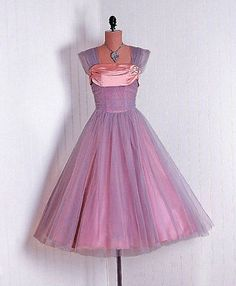 16849f3e25fa Vintage Lilac-Mauve Tulle and Champagne-Pink Satin Designer-Couture  Sculpted Shelf-Bust Ruched Nipped-Waist Rockabilly Ballerina-Cupcake  Princess ...