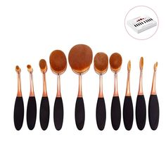 DSCbeauty 10 Pcs Oval Brushes Set Packed with Box Foundation Contour Blush Concealer Eyebrow Eyeliner Blending Cosmetics Brushes Toothbrush Curve Makeup Tools Set (Black Rose Golden) ** More info could be found at the image url. (Note:Amazon affiliate link)