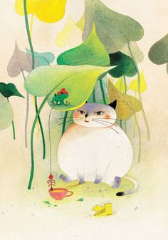 Sweetly cute kitty cat art in a lovely yellow and green palette.