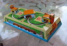 "Vintage 1960s Russian USSR Litho Tin Toy 9.5"" Key Wind Up Train Station"