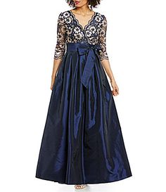 Jessica Howard VNeck 34 Sleeve Lace Taffeta Ballgown #Dillards this is one of my favorites for MOB