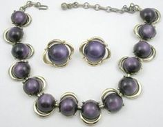 Coro Purple Moonglow Necklace Set - Garden Party Collection Vintage Jewelry