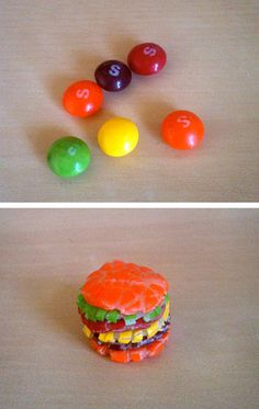 Skittles burger_ dumbest pin i have seen on pinterest thus far but I love skittles and WILL make this....