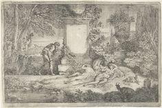 Adriaen van der Kabel   Slapende herderinnen, Adriaen van der Kabel, 1648 - 1705   Drie schaars geklede vrouwen aan de voet van een zuil waarnaast een staande man, een koe en enkele geiten. Eerste prent uit de serie van zes.