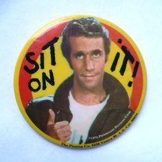Vintage Happy Days Fonzie Original Pin Badge by ShopHereVintage, $12.50