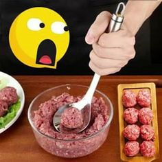 Meatball Maker Spoon The fastest and easiest way of making your own delicious meatballs! This Meatball Maker Spoon is a creative kitchen tool that will help you create meatballs e Cool Kitchen Gadgets, Kitchen Tools, Cool Kitchens, Kitchen Maker, Baby Food Recipes, Cooking Recipes, Cooking Bacon, Skillet Cooking, Cooking Rice
