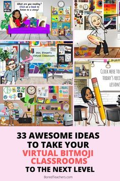 33 Awesome Ideas to Take Your Virtual Bitmoji Classrooms to the Next Level Online Classroom, Music Classroom, Kindergarten Classroom, School Classroom, Google Classroom, Flipped Classroom, Classroom Resources, Teacher Resources, Professor