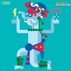 Chaac, dios maya de la lluvia #MundoMaya #DiosesMayas / Ilustración: Oldemar