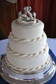 Nautical Cake without the topper. I like the rope look on each layer