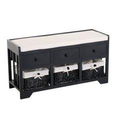 3 Basket 3 Drawer Storage Bench
