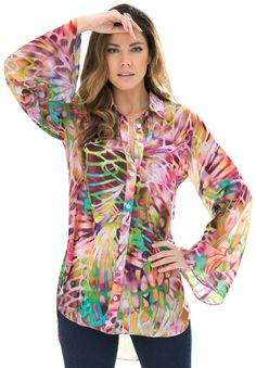"Pops of bright hues decorate this gorgeous plus size bigshirt - it will make your closet a happier place!  soft, flowing A-line shape elegantly grazes your figure the shirt collar  is generously shaped for an effortless and flattering fit full button front adds a delicate subtle statement long sleeves have plenty of room and provide the coverage you're looking for shirttail hem creates a flattering silhouette and allows you to move with ease about 32"" to flatter the hips polyester crink..."