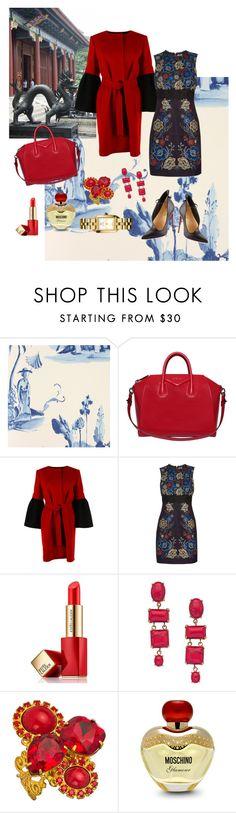 """THE DRESS!!!!"" by kskafida ❤ liked on Polyvore featuring Osborne & Little, Givenchy, Christian Louboutin, Albino, Warehouse, Estée Lauder, Gottex, Liz Palacios, Moschino and Tory Burch"