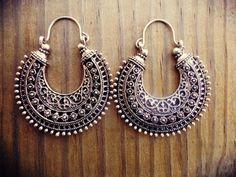 Half moon earrings Antique Finish Moon Earrings  by ZamarutJewel