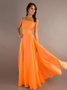 Robe de Bal Orange en Mousseline  FK562 $199.99 Robe de Bal Longue