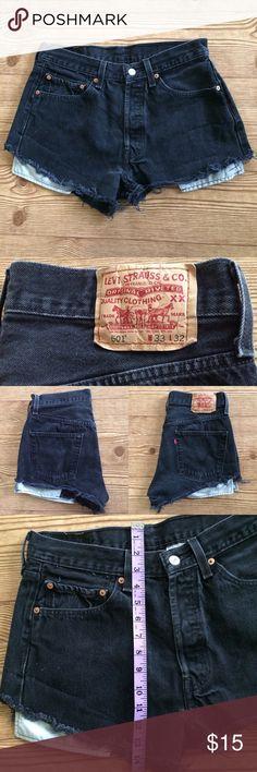 Levi's Cutoff Jean Shorts Black denim cutoff shorts. Measurements pictured above. 100% Cotton. Levi's Shorts Jean Shorts