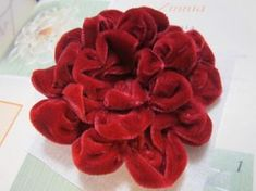 Silk Ribbon Embroidery Flowers Ravings of a Mad Crafter: Valentine Inspired Velvet Ribbon Flower Ribbon Art, Diy Ribbon, Fabric Ribbon, Velvet Ribbon, Red Velvet, Velvet Flower, Ribbon Rose, Denim Flowers, Cloth Flowers