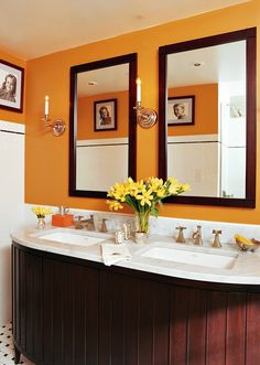 If You Want To Experiment With Bold Colours, Try A Small Space Like A  Bathroom. Orange Bathroom DecorOrange ...