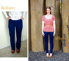 I gave away a bag of droopy-butt pants literally moments before I saw this inspiration (and slight tutorial) on how to slimify pants. Also love the red/white stripes with blue pants.